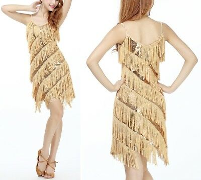 Women's Sexy Sequined Tassel Fringed Cocktail Party Costume Latin Dance Dress