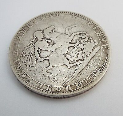 Fine Large English Antique Georgian 1820 Solid Sterling Silver One Crown Coin