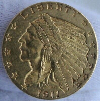 2,5 Dollars Goldmünze USA 1911 P Philadelphia Indian Head Quarter Eagle