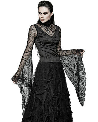 Punk Rave Womens Gothic Top Black Spiderweb Lace Long Sleeve Steampunk VTG Witch