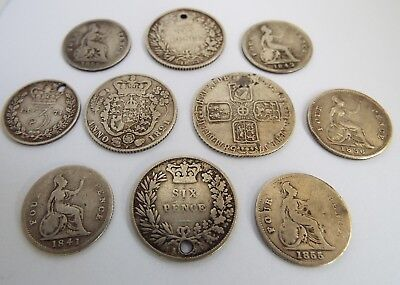 10 Early English Antique 18/19Th Century Solid Silver Coins Including Maundy