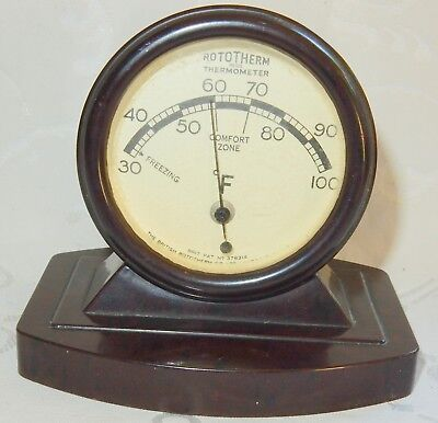 Vintage Art Deco Rototherm Thermometer Bakelite Case Patent Number 378314