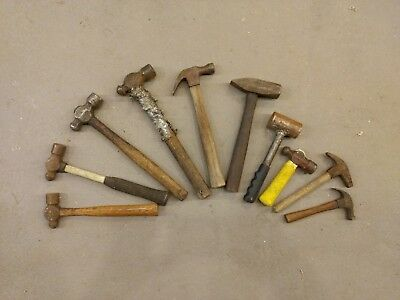 Vintage Lot of Ball Peen Blacksmith Hammers: various size. 10 hammers total