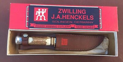 """1980's J.A. Henckels """"Stag"""" Hunting Knife No.HK-503 With Sheath Unused Excellent"""