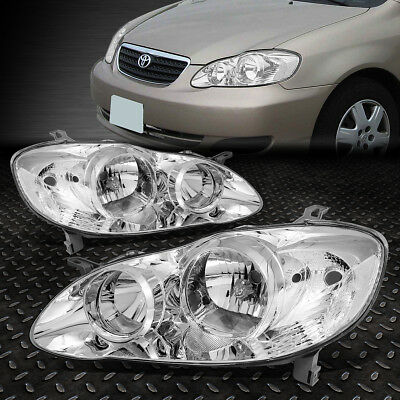 For 2003-2008 Toyota Corolla Pair Chrome Housing Clear Side Headlight/lamp Set