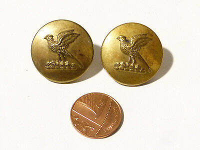 2 Gilt 19thC Antique LIVERY Buttons PHEASANT Design Large Size PITT & Co  #L45 *