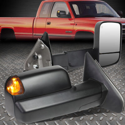 For 02-09 Dodge Ram Pair Powered Towing/camper Side Mirror W/heated+Puddle Light