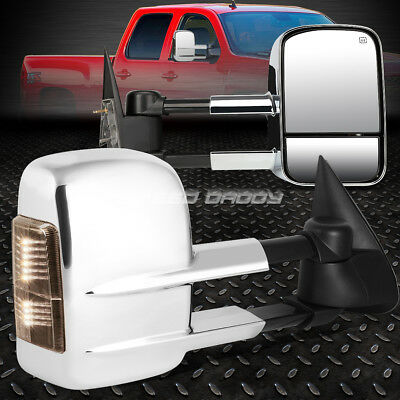 For 99-02 Silverado/sierra Power+Smoke Signal Led Chrome Towing Side Mirror Pair