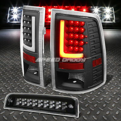 3D Led L-Streak Black Clear Tail+Dual-Row 3Rd Brake Light For 10-16 Dodge Ram