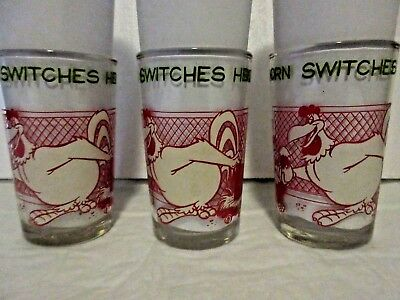 VTG 1974 FOGHORN SWITCHES  EGG Warner Bros.Welch's Jelly Jar Glass 3 MATCHING