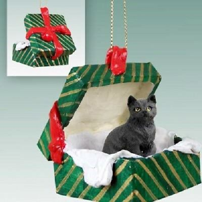 BLACK CAT Christmas GREEN GIFT BOX Ornament HAND PAINTED resin FIGURINE kitty