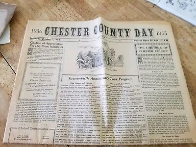 Vtg Chester County Day Newspaper Program West Chester PA 1965