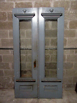 ~ Ornate Antique Oak Double Entrance French Doors Etched Glass ~ 45 X 82 ~