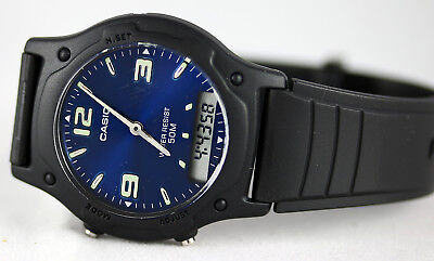 0111ab645 Casio AW49HE-2AV Analog Digital Watch Men's Classic Blue 50m Water  Resistant New