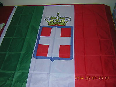 100% New Reproduced Italian War Flag of Italy 1860 crowned Ensign, 120X120cm