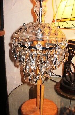ANTIQUE CRYSTAL CHANDELIER 3 TIER HEAVY Small LOADED w/54 REAL CRYSTALS 1950's