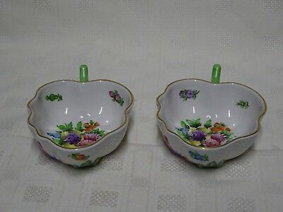 Collectable Hand Painted Herend Hungary Pair Of Attractive Shaped Dishes