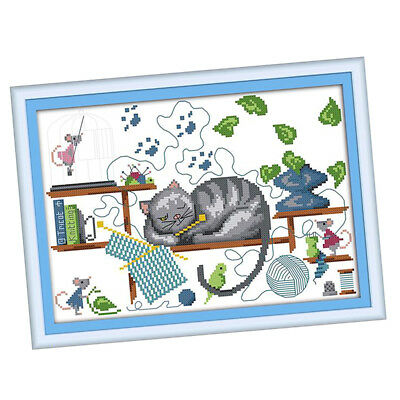 Stamped Cross Stitch Kit Sleeping Cat Patterns For Beginners Kids (2 Sizes)