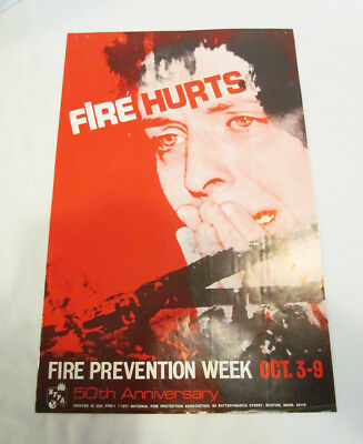 FIRE HURTS 1971 NFPA FIRE PREVENTION WEEK POSTER VINTAGE 50th ANNIVERSARY