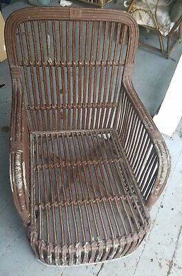 Antique rattan beach or sand chair 1920 rare