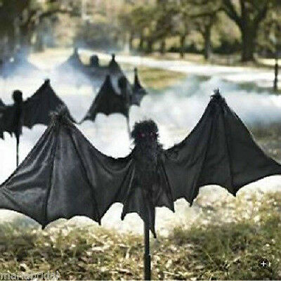 Set of 3 Huge 15ft Scary Bats Stakes Set W. Red Jewel Eyes Halloween Yart décor