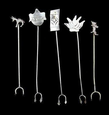 Vintage Mid Century MCM Mexican Sterling Silver Hors D'oeuvres Picks Dog Donkey