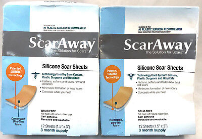 """(2) ScarAway Silicone Scar Sheets New & Sealed 1.5"""" x 3"""" 12 Sheets EA Exp 8/2021"""