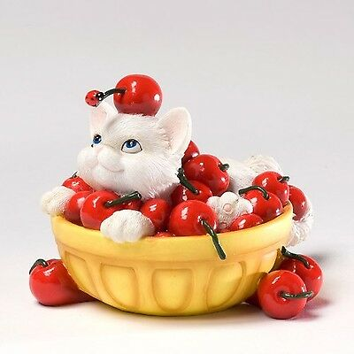 """Charming Purrsonalities Life's a Bowl Full of Cherries Cat Figurine Resin 3"""""""