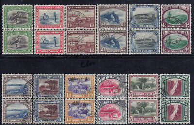 South West Africa SWA 1931-37 1/2d-20sh Pairs (SG74//96) Used £134.50/$182