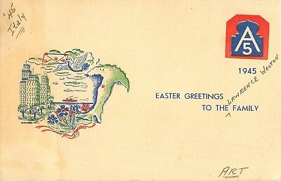 1945 WW2 Easter Greeting Card from Italy - Fifth Army (5th) Postcard