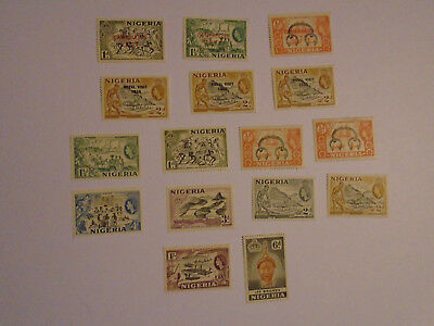 Nigeria QE II to 1/- with m/m and overprints collection 6