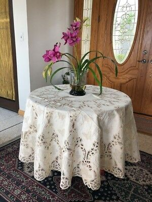 """LIM'S Vintage Butterfly Motif Battenberg Lace Tablecloth 72""""X 72"""" Round Natural"""