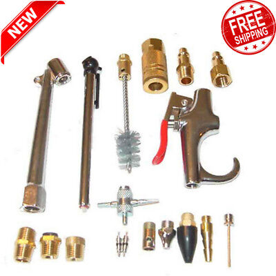 "18 Piece Air Compressor Accessory Kit Tool Blow Gun for Standard 3/8"" Air Hose"