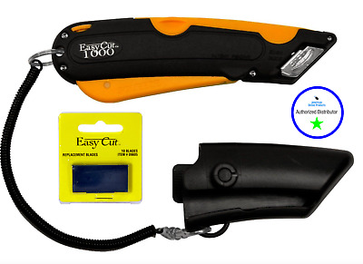 Easy Cut 1000 ORANGE Safety Box Cutter Knife Easycut & PACK OF 10 BLADES