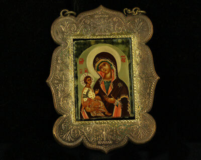 Antique Russian Orthodox  Mary & Baby Jesus Religious Icon Hand Painted Wall Art