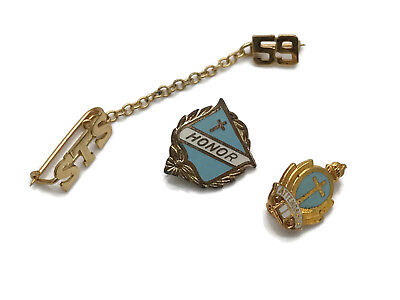 Vintage 1950s Catholic School Pins STS '59 Honor Attendance Gold Toned Enamel 3