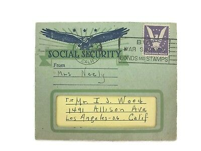 Vintage 1940 Social Security Novelty Birth Announcement Girl H. Fishlove & Co.