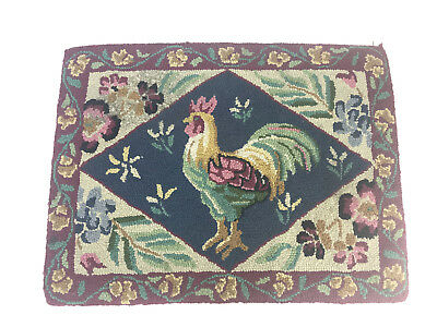 "Vintage Hooked Wool Rug Rooster Cockerel In Diamond Floral Border 20"" By 26"""