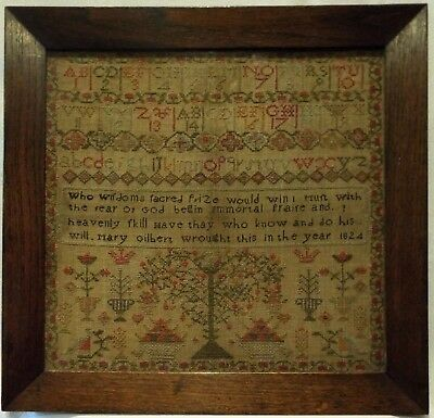 Early 19Th Century Fruit Tree, Motif & Verse Sampler By Mary Gilbert - 1824