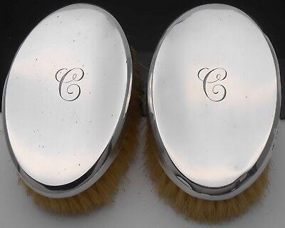 Initial 'c' - Pair Comyns Sterling Silver Gents Hairbrushes - London 1934