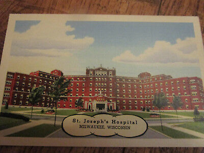 Vtg St. Joseph's Hospital Milwaukee Wisconsin WI Linen Postcard PC Unused