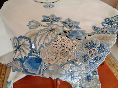 Fabulous Heavy Linen Vintage Tablecloth, Stunning Blue/stone Hand Embroidery