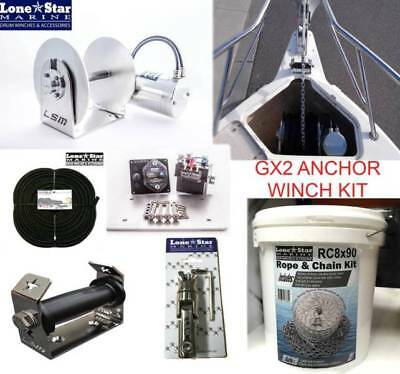GX2 Lone Star Anchor Winch COMBO KIT 1000W Electric  up to 8mtr Boats