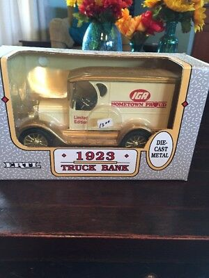 1991 Ertl IGA Hometown Proud 1923 Yellow Truck Bank w/Original Box Ltd Edition