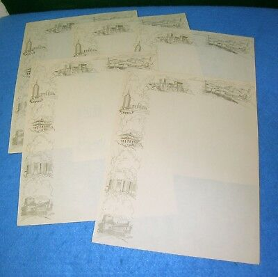 1933 Chicago World's Fair 5 SHEETS STATIONERY w/ 6 Building Vignettes