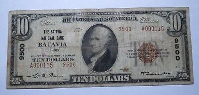 $10 1929 Batavia Illinois IL National Currency Bank Note Bill Ch. #9500 FINE!