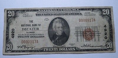 $20 1929 Decatur Illinois IL National Currency Bank Note Bill Ch. #4920 FINE!
