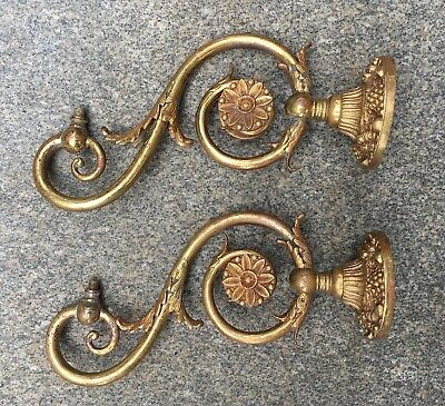 Pair of vintage ornate Victorian gilt brass gas wall sconces c. 1860 - 1890