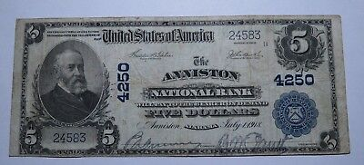 $5 1902 Anniston Alabama AL National Currency Bank Note Bill! Ch. #4250 VF!