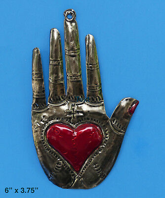 Hand w Heart & Cross Milagro Ornament, Punched Tin, Mexican Folk Art, Mexico